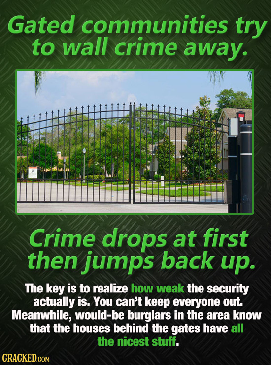 Gated communities try to wall crime away. Crime drops at first then jumps back up. The key is to realize how weak the security actually is. You can't