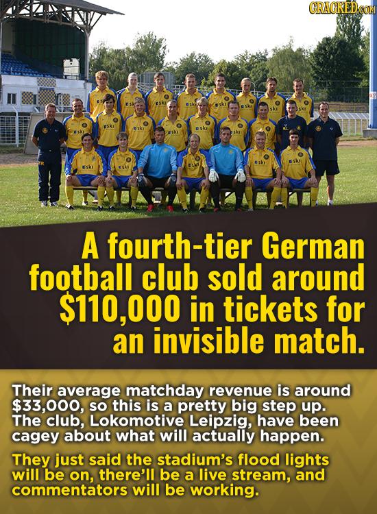 Esk ESK sK FSkI 1K1 ESki ESKi VESk Esk ESkl ESKI EKI ESAI A fourth-tier German football club sold around $110,000 in tickets for an invisible match. T