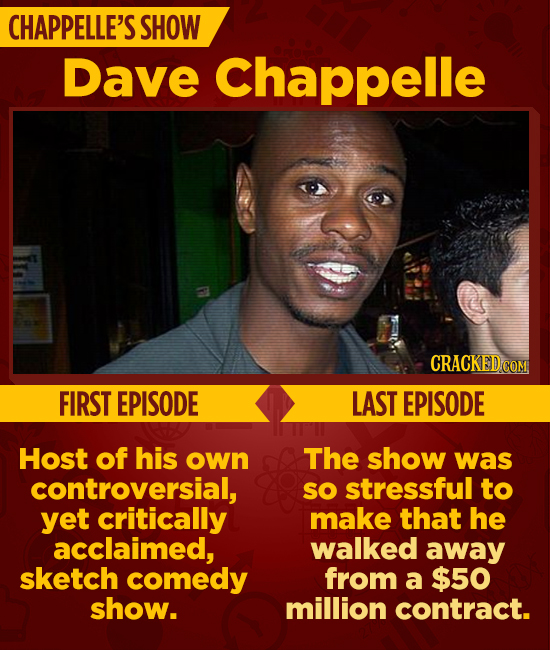 CHAPPELLE'S SHOW Dave Chappelle CRACKEDC COM FIRST EPISODE LAST EPISODE Host of his own The show was controversial, sO stressful to yet critically mak