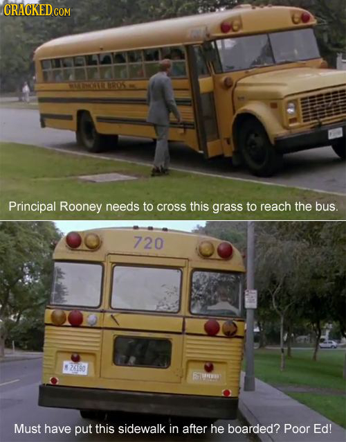 CRACKEDcO COM MYN 8R05 Principal Rooney needs to cross this grass to reach the bus. 720  26180 6a Must have put this sidewalk in after he boarded? Poo