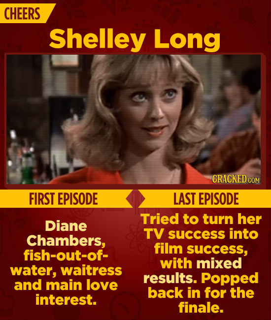 CHEERS Shelley Long CRACKEDC COM FIRST EPISODE LAST EPISODE Tried to turn her Diane TV into Chambers, success film fish-out-of- success, with mixed wa