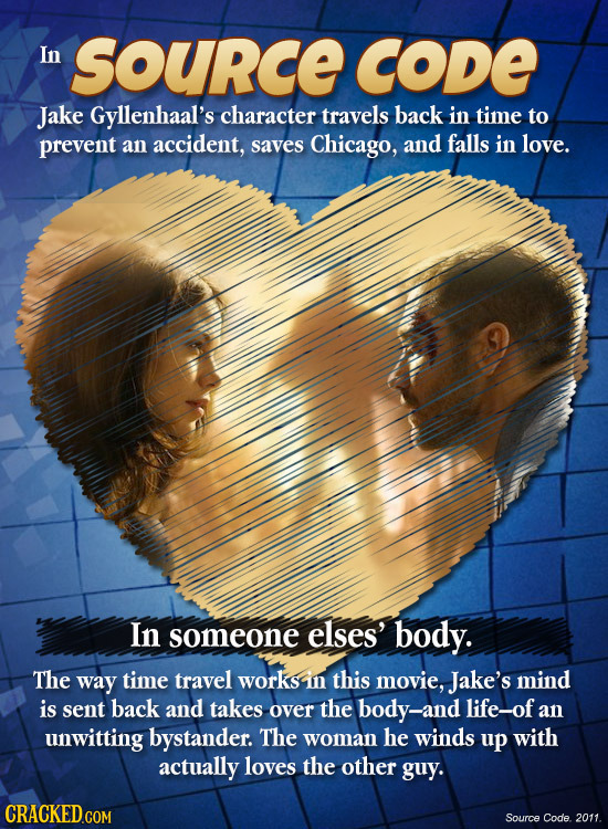 In Source CODE Jake Gyllenhaal's character travels back in time to prevent an accident, saves Chicago, and falls in love. In someone elses' body. The