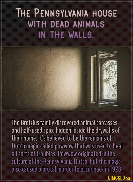 The Pennsylvania house with dead animals in the walls.  The Bretzius family discovered animal carcasses and half-used spice hidden inside the drywalls