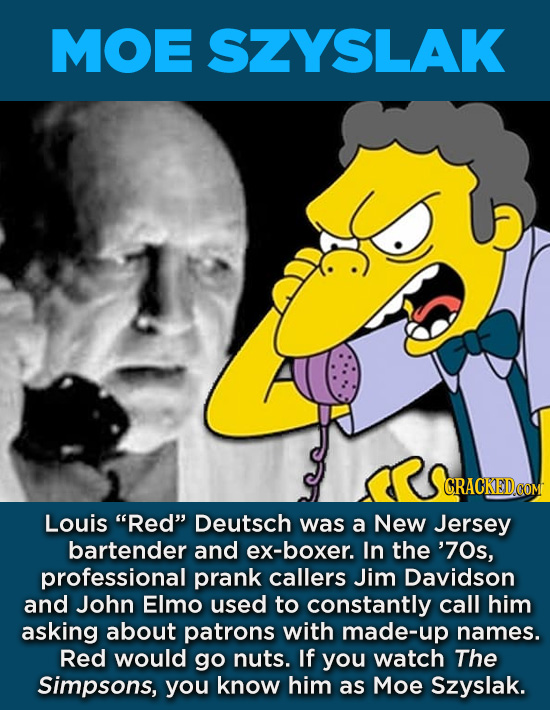 "20 Characters You Never Realized Are Based On Real People - Louis ""Red"" Deutsch was a New Jersey bartender and ex-boxer. In the '70s, professional pra"