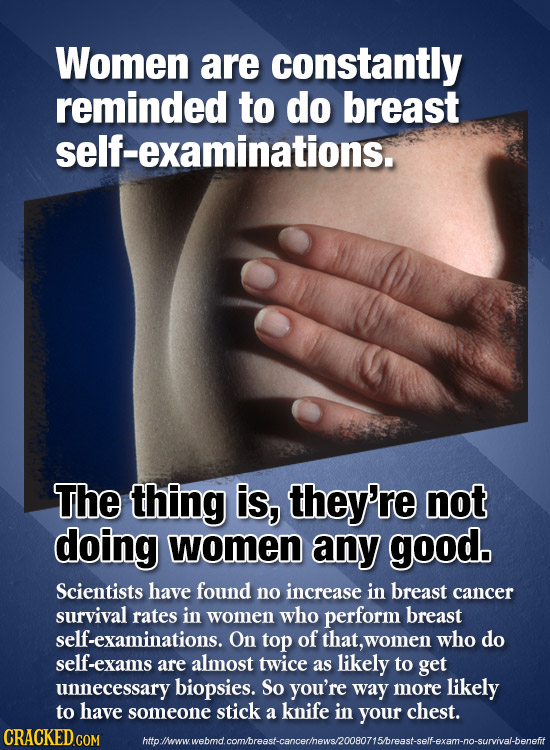 Women are constantly reminded to do breast self-examinations. The thing is, they're not doing women any good. Scientists have found no increase in bre
