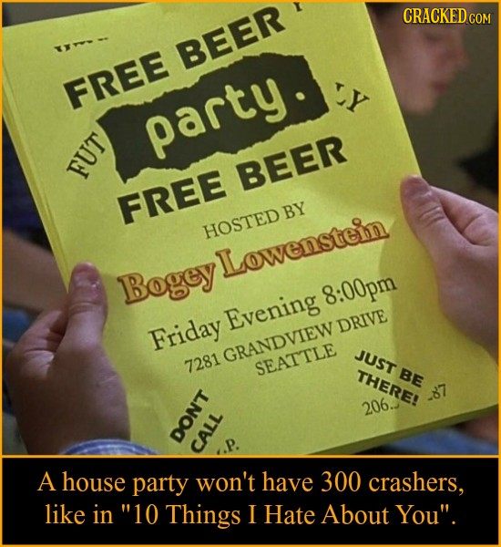 CRACKED BEER FREE party 0 BEER FREE BY HOSTED Lowenstein Bogey 8:00pm Evening DRIVE Friday GRANDVIEW JUST 7281 SEATTLE THERE! BE 87 206. DONT CALL A h