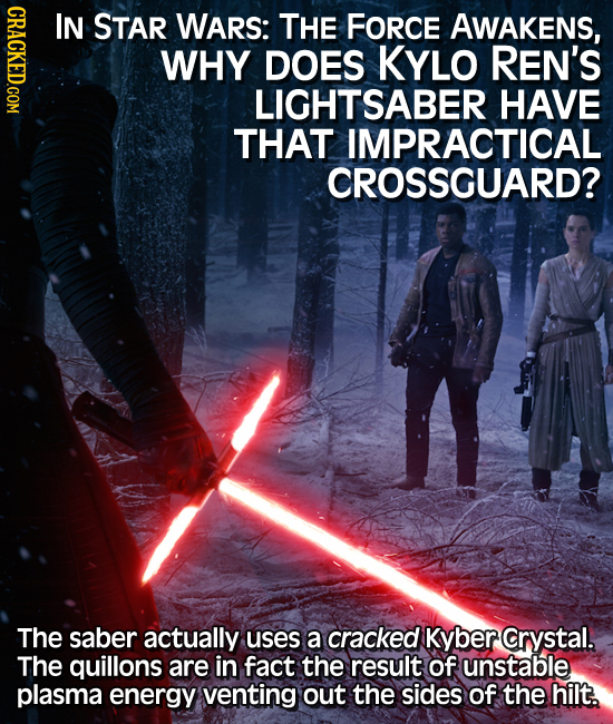 CRACKED.COM IN STAR WARS: THE FORCE AWAKENS, WHY DOES KYLO REN'S LIGHTSABER HAVE THAT IMPRACTICAL CROSSGUARD? The saber actually uses a cracked Kyber