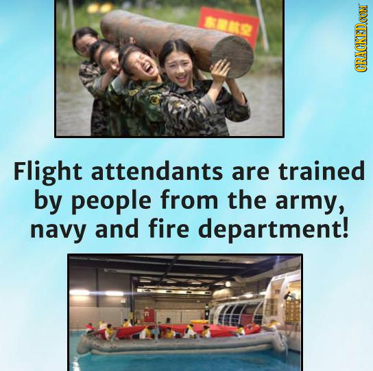 818 Flight attendants are trained by people from the army, navy and fire department!