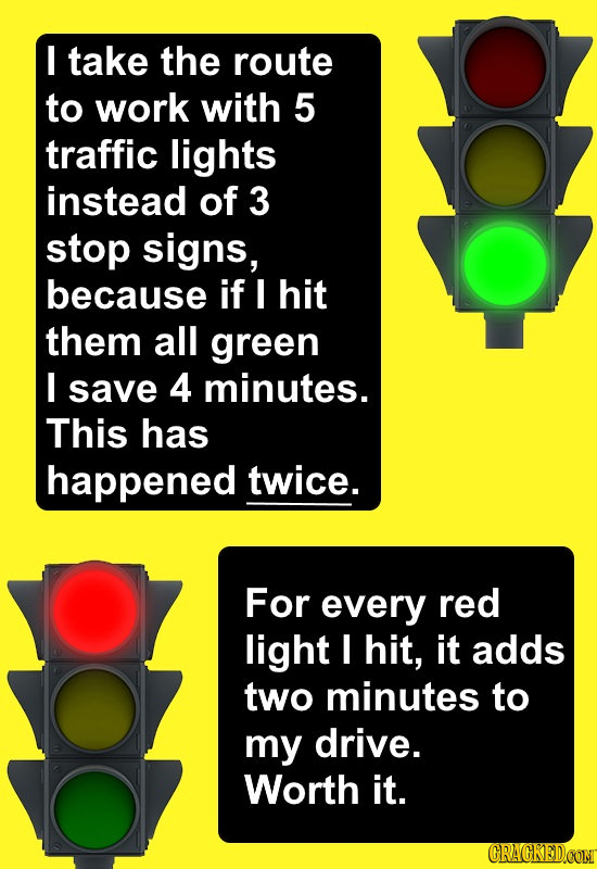 I take the route to work with 5 traffic lights instead of 3 stop signs, because if I hit them all green I save 4 minutes. This has happened twice. For
