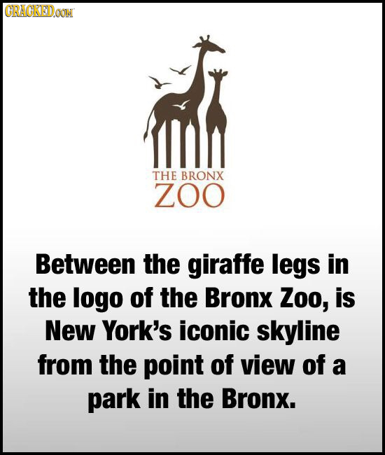 CRAGKEDO THE BRONX Z0O Between the giraffe legs in the logo of the Bronx Zoo, is New York's iconic skyline from the point of view of a park in the Bro