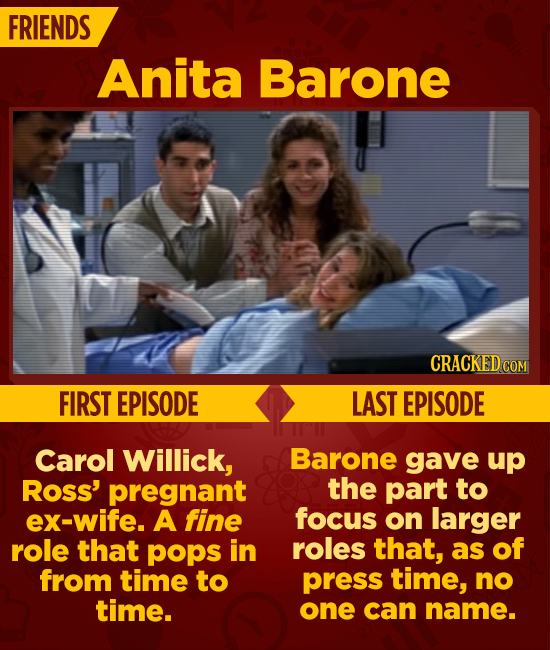 FRIENDS Anita Barone CRACKEDC COM FIRST EPISODE LAST EPISODE Carol Willick, Barone gave up Ross' pregnant the part to ex-wife. A fine focus on larger