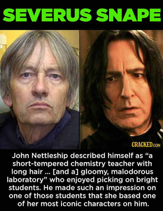 "20 Characters You Never Realized Are Based On Real People - John Nettleship described himself as ""a short-tempered chemistry teacher with long hair .."