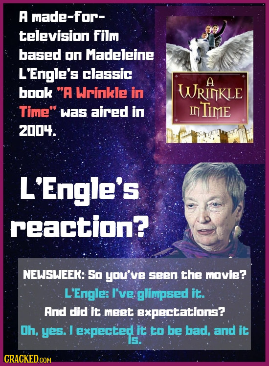 A made-for- television film based on Madeleine L'Engle's classic A book A Wrinkle in WRIKLE Time was aired in IN TIME 2004. L'Engle's reaction? NEWS