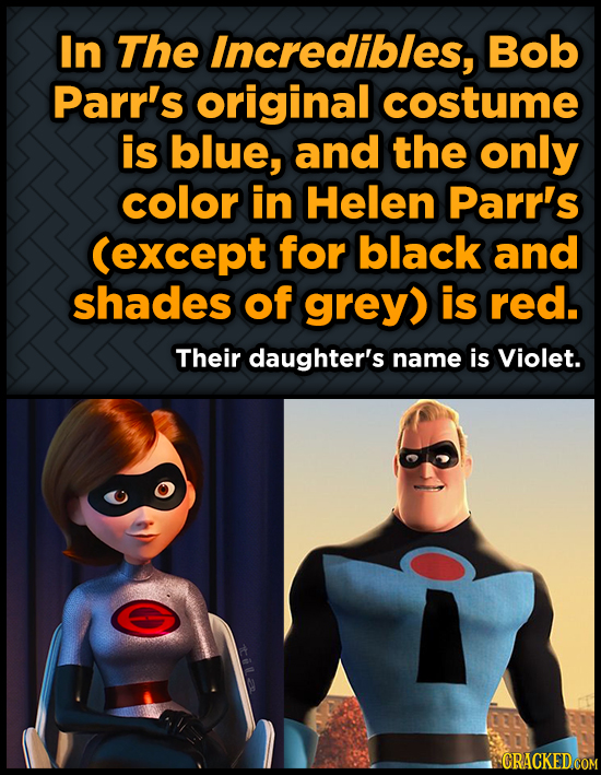 In The Incredibles, Bob Parr's original costume is blue, and the only color in Helen Parr's (except for black and shades of grey) is red. Their daught