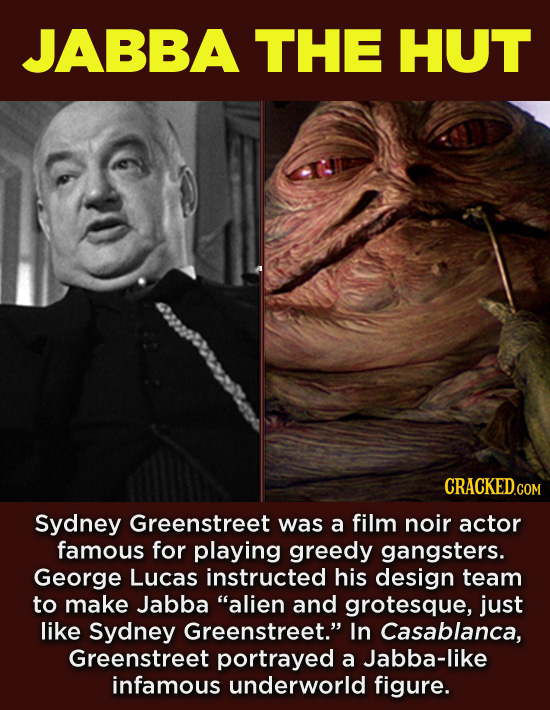 20 Characters You Never Realized Are Based On Real People - Sydney Greenstreet was a film noir actor famous for playing greedy gangsters. George Lucas