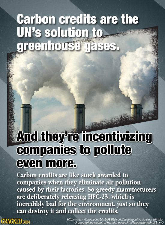 Carbon credits are the UN'S solution to greenhouse gases. And they're incentivizing companies to pollute even more. Carbon credits are like stock awar