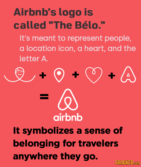 Airbnb's logo is called 'The Belo. It's meant to represent people, a location icon, a heart, and the letter A. + + + airbnb It symbolizes a sense of