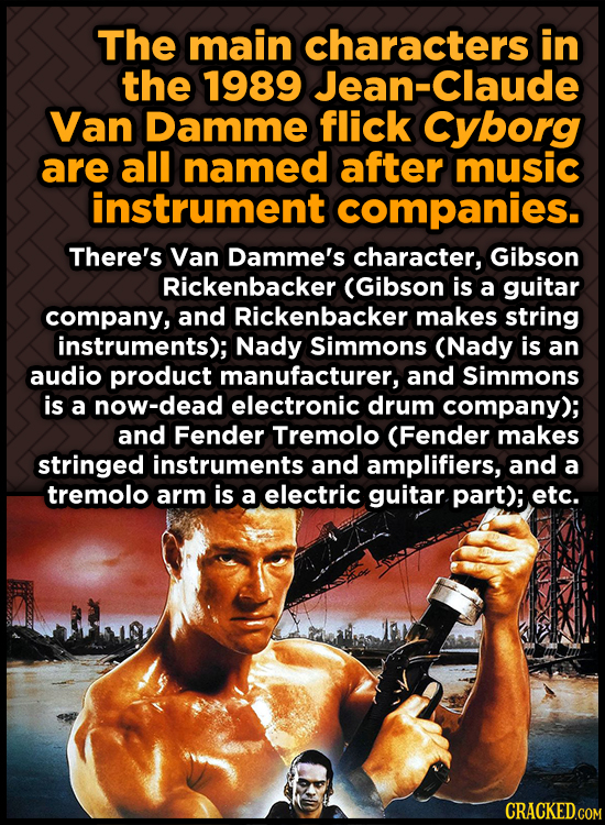 The main characters in the 1989 Jean-Claude Van Damme flick cyborg are all named after music instrument companies. There's Van Damme's character, Gibs