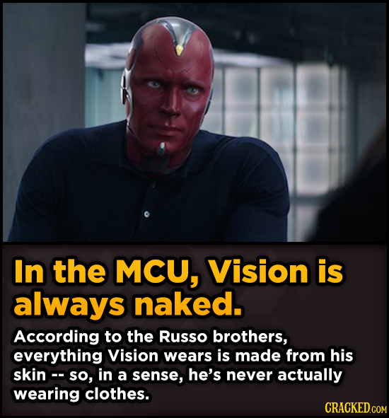 Surprising Revelations About Movies From The People Who Made Them - In the MCU, Vision is always naked. According to the Russo brothers,