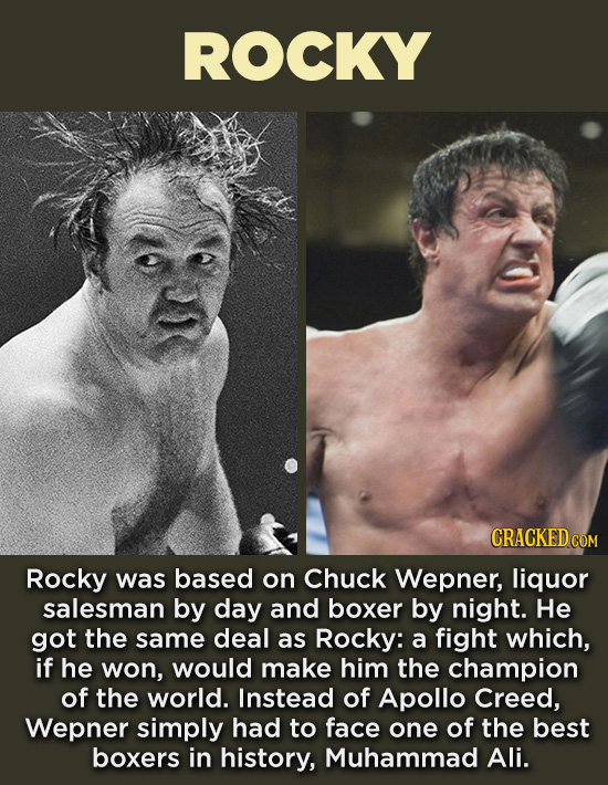 20 Characters You Never Realized Are Based On Real People - Rocky was based on Chuck Wepner, liquor salesman by day and boxer by night. He got the sam