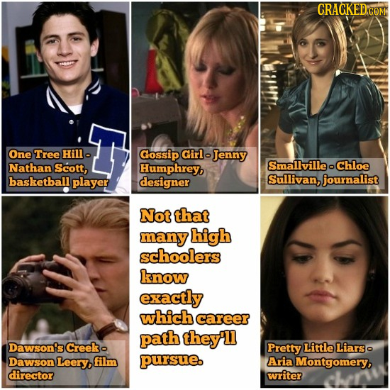 CRACKED'COM One Tree Hill Gossip Girlo Jenny Nathan Scott, Humphrey, SmallvilleoChloe basketball player designer Sullivan, journalist Not that many hi