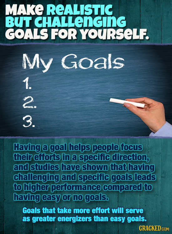 MAKE REALISTIC BUT CHALLENGING GOALS FOR YOURSELF. My Goals 1. 2. 3. Having a goal helps people focus their efforts. in a specific direction, and stud