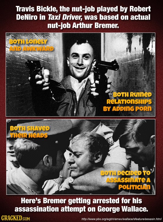 Travis Bickle, the nut-job played by Robert DeNiro in Taxi Driver, was based on actual nut-job Arthur Bremer. OTHLONELY AND AWKWIARD BOTH RuINED RELAT