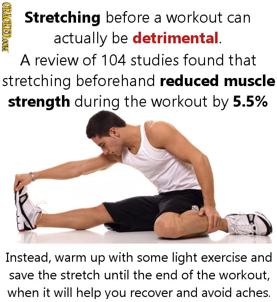 GRAOD Stretching before a workout can actually be detrimental. A review of 104 studies found that stretching beforehand reduced muscle strength during
