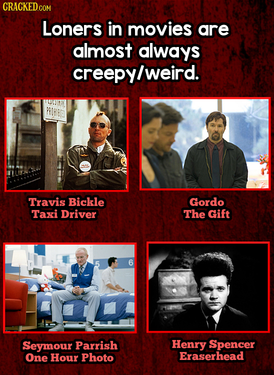 Loners in movies are almost always creepyl weird. PROHIED Travis Bickle Gordo Taxi Driver The Gift Seymour Parrish Henry Spencer One Hour Photo Eraser