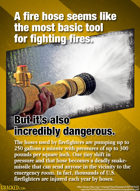 A fire hose seems like the most basic tool for fighting fires But it's also incredibly dangerous. The hoses used by firefighters are pumping up to 250