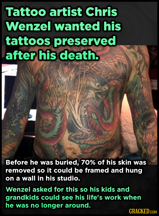 Tattoo artist Chris Wenzel wanted his tattoos preserved after his death. Before he was buried, 70% of his skin was removed so it could be framed and h