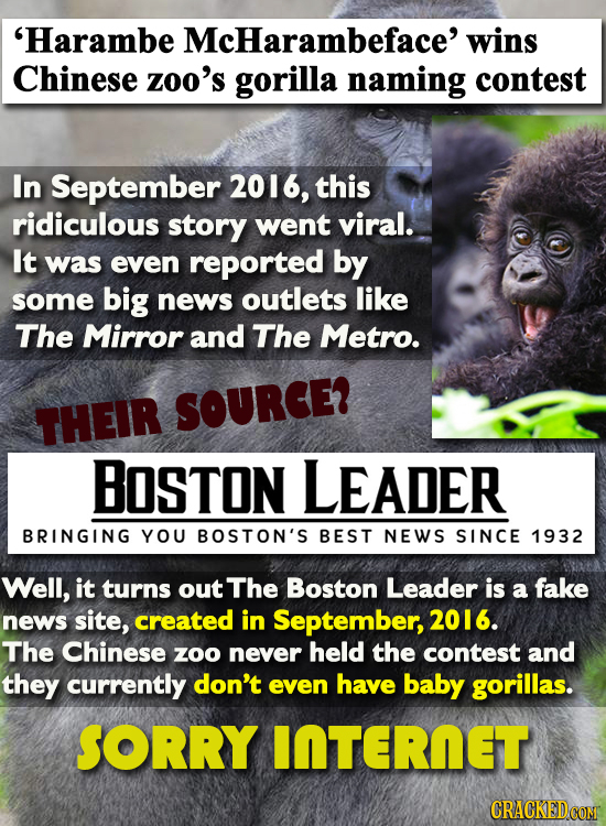 'Harambe McHarambeface' wins Chinese zoo's gorilla naming contest In September 2016, this ridiculous story went viral. It was even reported by some bi