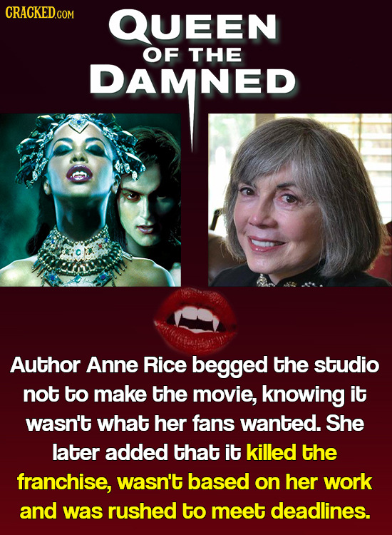QUEEN DAMNED OF THE DAMNED Author Anne Rice begged the studio not to make the movie, knowing it wasn't what her fans wanted. She later added that it k