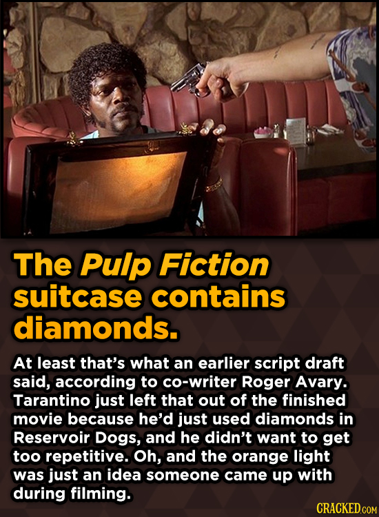 Surprising Revelations About Movies From The People Who Made Them - The Pulp Fiction suitcase contains diamonds.