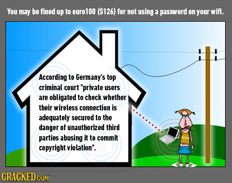 You may be fined up to euro100 ($126) for not using a password on your wifi. According to Germany's top criminal court private users are obligated to