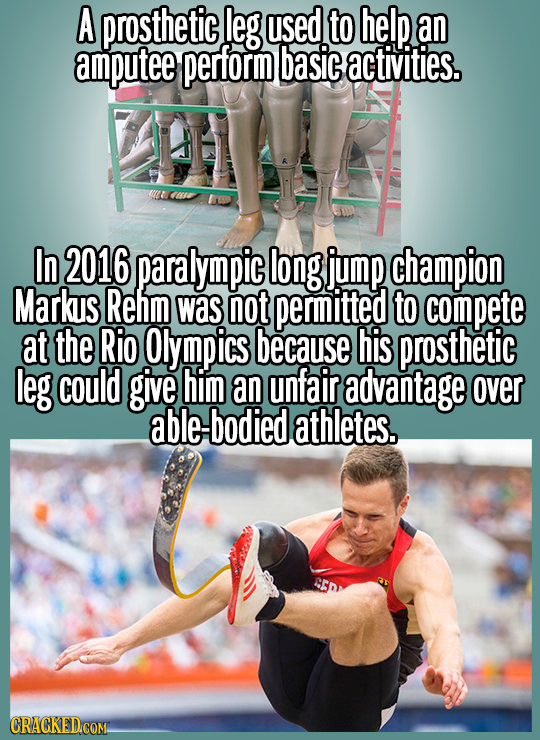 A prosthetic leg used to help an amputee perform basic activities. In 2016 paralympic long jump champion Markus Rehm was not permitted to compete at t
