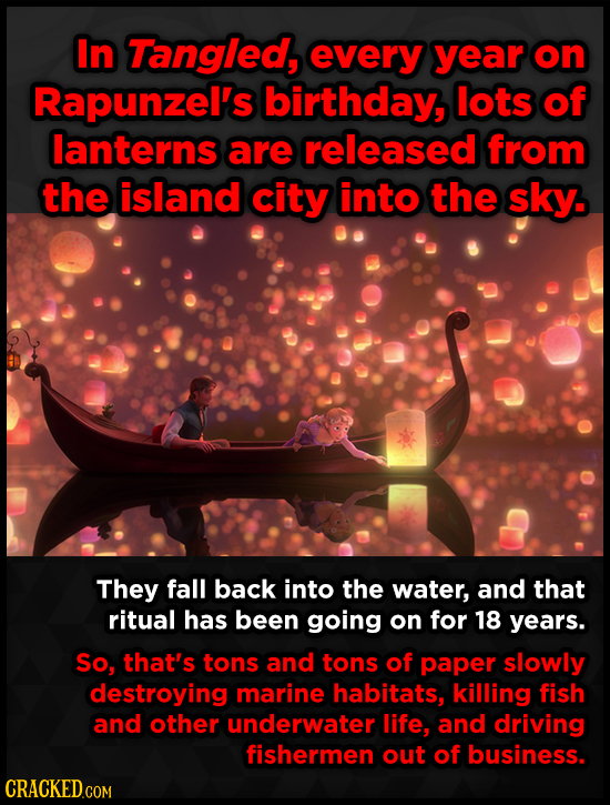 In Tangled, every year on Rapunzel's birthday, lots of lanterns are released from the island city into the sky. They fall back into the water, and tha