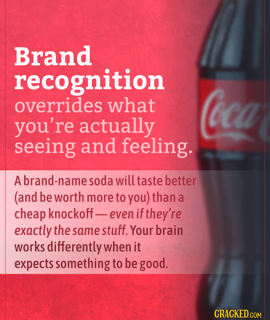 Brand recognition overrides what Coca you're actually seeing and feeling. Abrand-namesoda will taste better (and be worth more to you) than a cheap kn