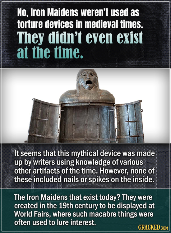 NO, Iron Maidens weren't used as torture devices in medieval times. They didn't even exist at the time. It seems that this mythical device was made up