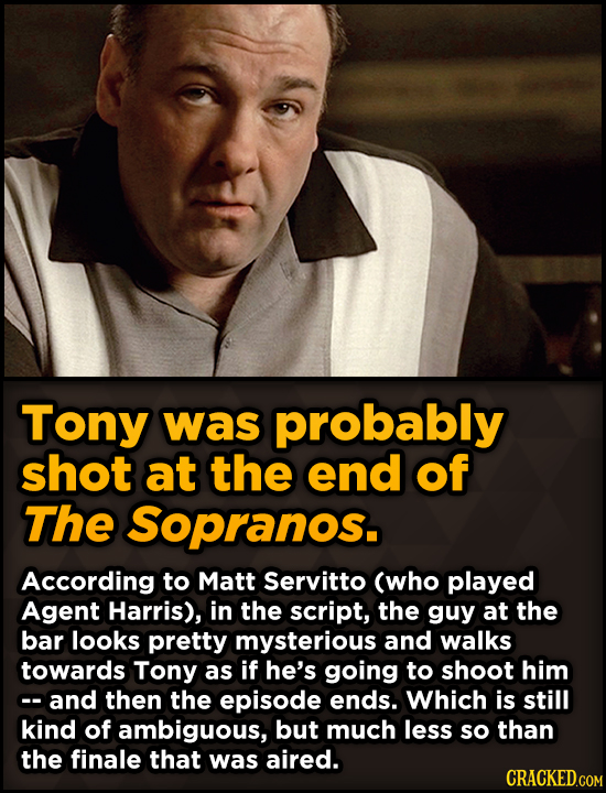 Surprising Revelations About Movies From The People Who Made Them - Tony was probably shot at the end of The Sopranos.