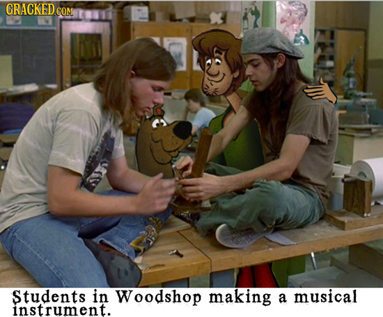 CRACKED COM Students in Woodshop making a musical instrument.