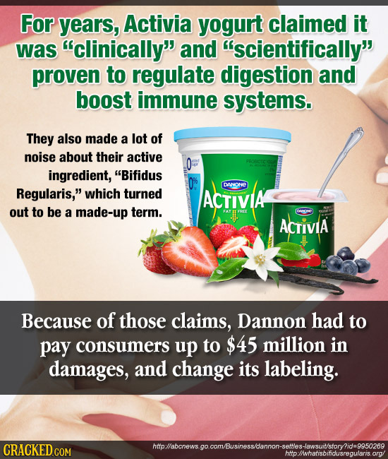 For years, Activia yogurt claimed it was clinically and scientifically proven to regulate digestion and boost immune systems. They also made a lot