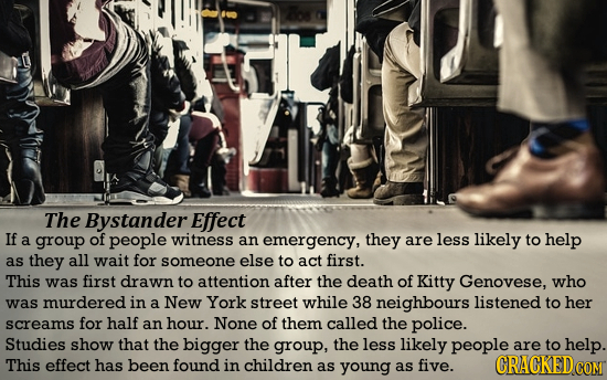 The Bystander Effect If a group of people witness an emergency, they are less likely to help as they all wait for someone else to act first. This was