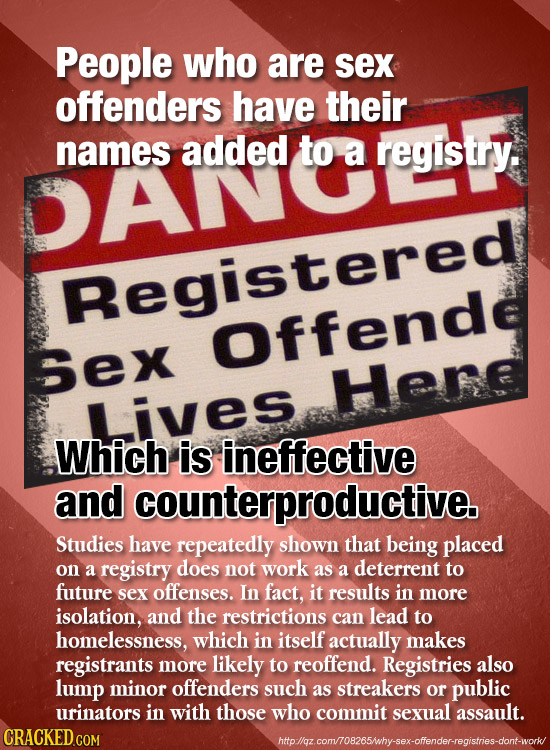 People who are sex offenders have their names added to a registry. DANOESTY Registered Offende Sex Here Lives Which is ineffective and counterproducti