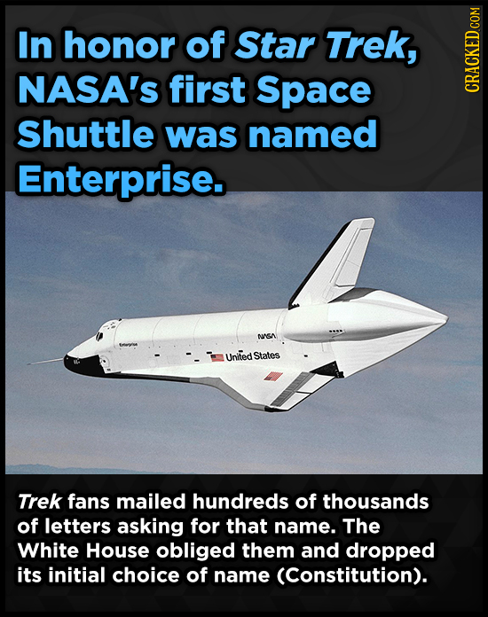 In honor of Star Trek, NASA's first Space CRAUN Shuttle was named Enterprise. NGA United States Trek fans mailed hundreds of thousands of letters aski