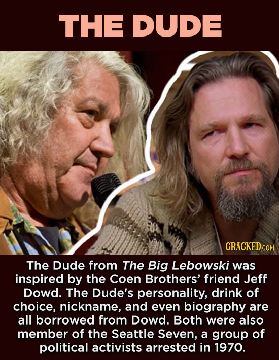 20 Characters You Never Realized Are Based On Real People - The Dude from The Big Lebowski was inspired by the Coen Brothers' friend Jeff Dowd. The Du