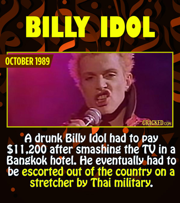 15 Epic Feats of Partying by Famous People - A drunk Billy Idol had to pay $11,200 after smashing the TV in a Bangkok hotel. He eventually had to be e