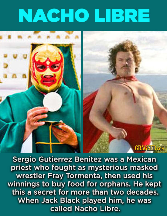 20 Characters You Never Realized Are Based On Real People - Sergio Gutierrez Benitez was a Mexican priest who fought as mysterious masked wrestler Fra