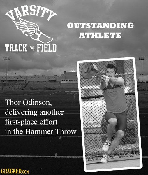 SITY OUTSTANDING ATHLETE TRACK AND FIELD Thor Odinson, delivering another first-place effort in the Hammer Throw