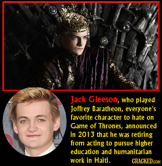 Jack Gleeson, who played Joffrey Baratheon, everyone's favorite character to hate on Game of Thrones, announced in 2013 that he was retiring from acti